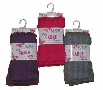 Girls I.l.c.k. Cable Tights Available In Grey Purple & Fuchsia  Style -  46B200