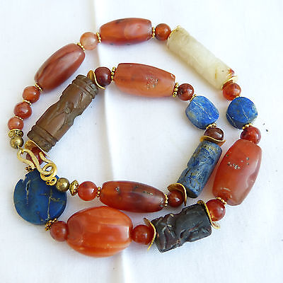 Ancient Pema Raka carnelian bead ,  intaglio seals and lapis necklace