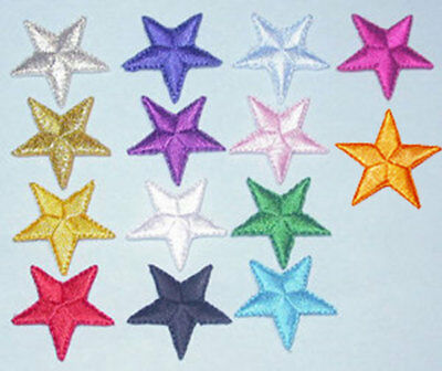 """1"""" (25mm) Star Fully Embroidered Iron On Applique x 10 (Various Colours)"""