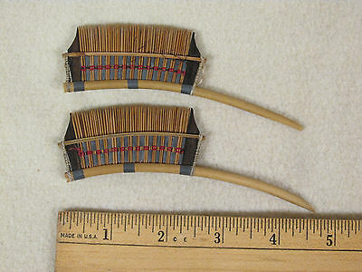 """Lot of 2 Antique Vtg Handmade Wood Combs 5"""" Asia Malaysia"""