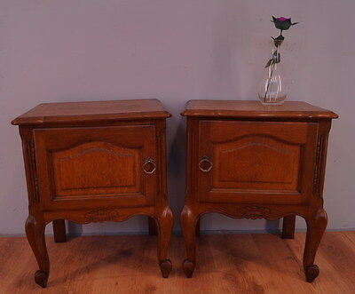 1006 !! Superb Oak Bedside Tables In Louis Xv Style !!