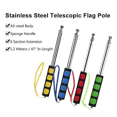 1.2M Telescopic Flag Pole Stainless Steel for Teachers' Pointer Tour Guide M6B0