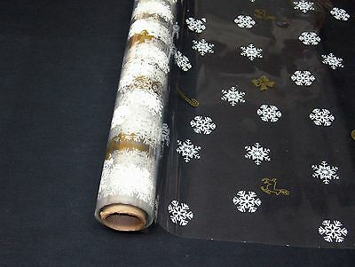 """1 Roll 20""""x100' Flakes & Canes  Christmas Designs Clear Cellophane Gift Wrap"""