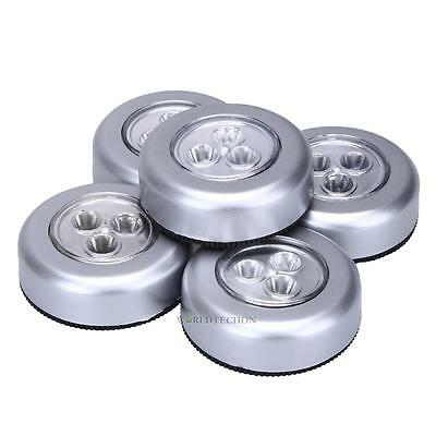 5PCS 3 LED Night Light Home Cabinet Push Tap Touch Stick On Battery Powered Lamp