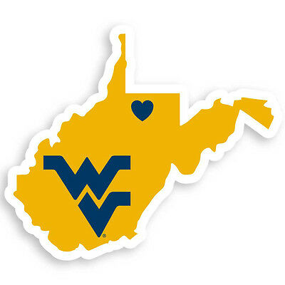 west virginia mountaineers state shape logo with heart vinyl decal