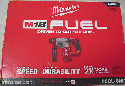 """Milwaukee 2712-20 M18 FUEL 1"""" SDS Plus Rotary Hammer (Bare Tool) New In Box"""