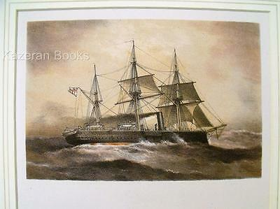 Antique Colour Lithographic Print HMS Iron Duke Victorian Ships Of Royal Navy