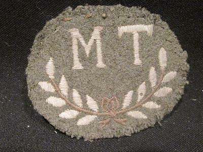 British Army WWII Era Trade Badge Embroidered M T Motor Transport