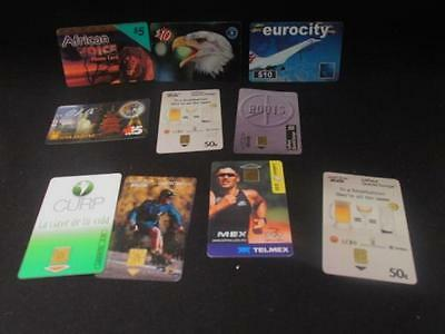 Prepaid Phone Cards Selection of 10 Bell, TCI, Telmex, Eurocity, African Voice +