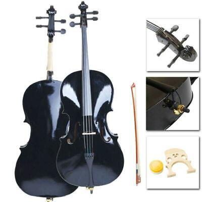 High Quality Cello 4/4 Full Size Black BassWood +Bag+Bow+Rosin+Bridge