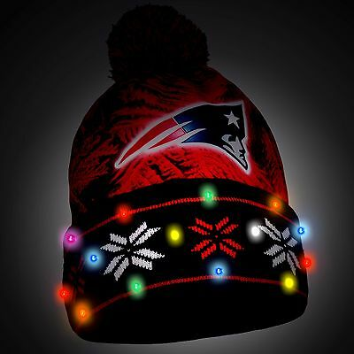 New England Patriots Big Logo Light Up Printed Beanie Winter Hat Cuffed Pom New