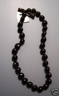Hawaiian Brown Kukui Nut Lei Luau Boho Bead Necklace