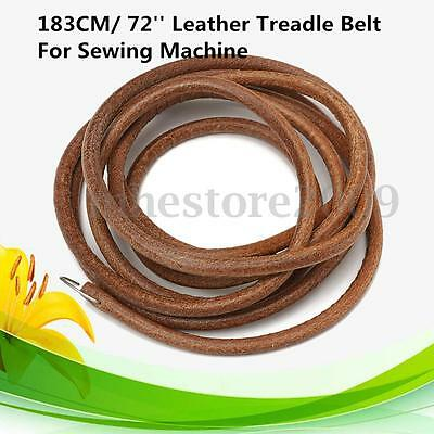 "72"" 183cm Leather Belt Treadle Parts + Hook For Singer Sewing Machine 3/16'' Dia"