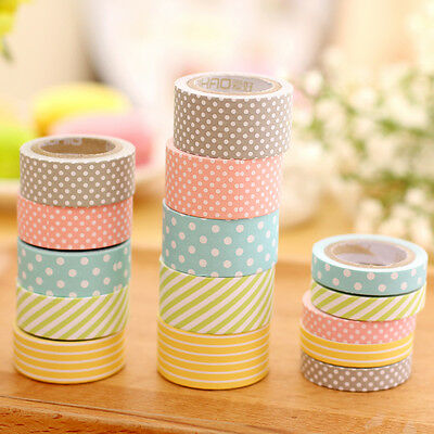 5pcs Washi Sticky Paper Masking Tape Adhesive Decorative Tape DIY 3 Sizes