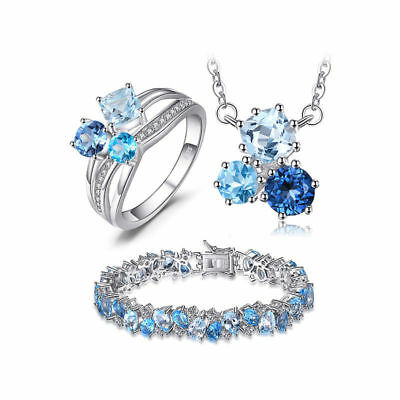 JewelryPalace Genuine Swiss London Blue Topaz Jewelry Set 925 Sterling Silver