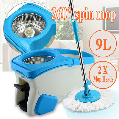 360° Spinning Mop &Stainless Steel Spin-Dry Bucket w/ 2 Mop Heads Free