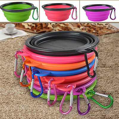 Portable Collapsible Silicone Cat Dog Pet Feeding Bowl Water Dish Feeder