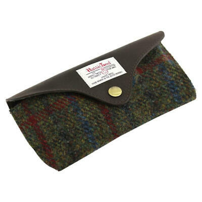 Green & Red Tartan Harris Tweed Glasses Case Wool Specs Gift Genuine Spectacles