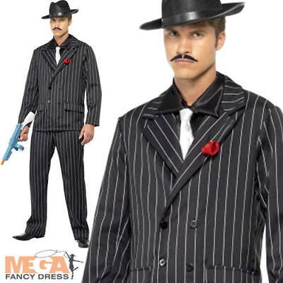 Cool Gangster Black Pinstriped Suit Mens 1920s Fancy Dress Party Costume Outfit