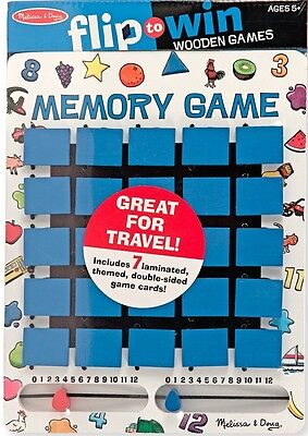 Melissa & Doug FLIP TO WIN MEMORY GAME Wooden Pairs Matching Toy Kids BN