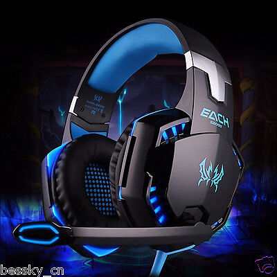 3.5mm Wired Gaming Headset Mic LED Headphones Stereo Surround for PC Laptop PS4