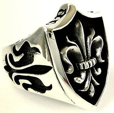 Fleur De Lis Knight Templar Solid Sterling 925 Silver Ring