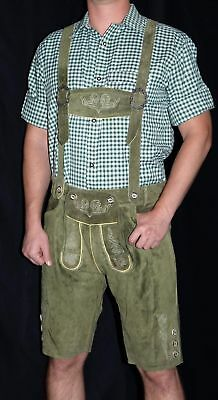 Loden LEATHER LEDERHOSEN German Oktoberfest SHORTS + SUSPENDERS Pants Trachten