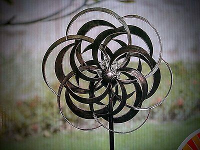 80 inch Bronze  Wind Spinner with Color Changing Solar Light / Windmill