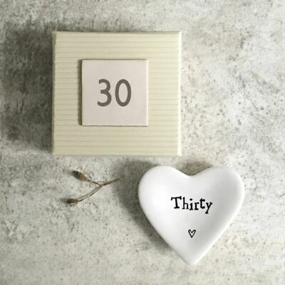 East of India Mini Heart Dish - Thirty- 30th Birthday Gift / Present in box