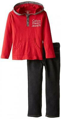 Calvin Klein Toddler Boys Red Hooded Top 2pc Denim Pant Set Size 2T 3T 4T $49.50