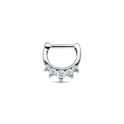 Septum Ring Clicker Surgical Steel Nose Piercing Jewelry 16G Clear CZ Daith Rook