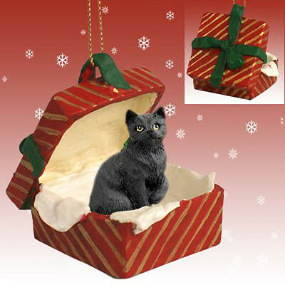 Black Shorthair CAT RED Gift Box Holiday Christmas ORNAMENT