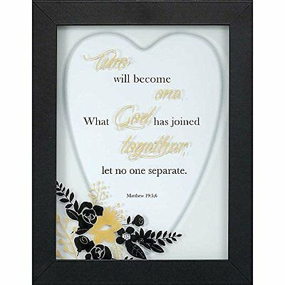 NEW Wedding Framed Wall Art 9 x 12 - Two Will Become One Matthew 19:5-6