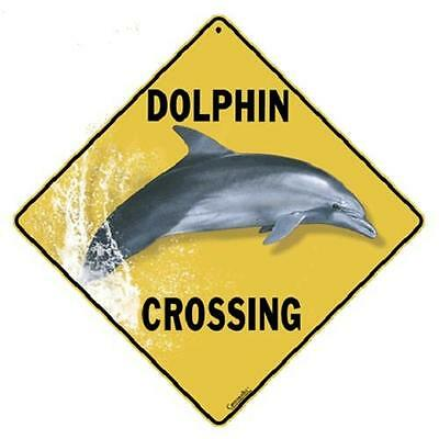 "Dolphin Breaching Metal Crossing Sign 16 1/2"" x 16 1/2"" Diamond shape  USA #374"