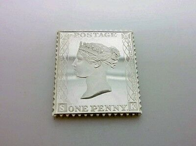 Superb 1977 Solid Sterling Silver Ingot - Victorian Penny Red Stamp