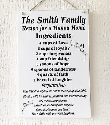 Recipe For A Happy Family Vintage Style Metal Hanging Sign 186