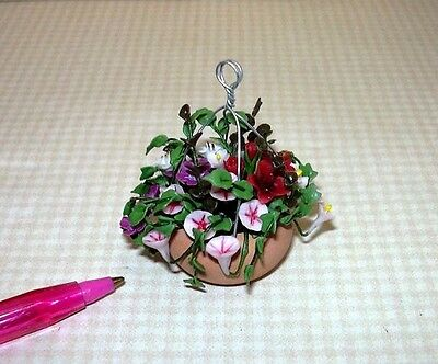 Miniature Hanging Basket (E-2) Mixed Florals w/DARK RED HIBISCUS: DOLLHOUSE 1/12