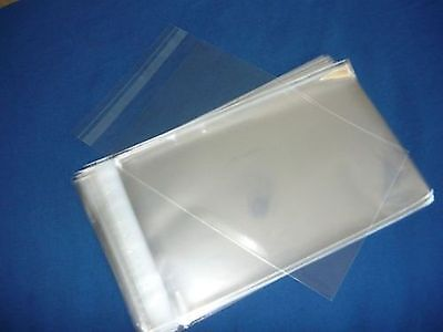 100 10x13  SELF SEAL FLAP TAPE CLEAR POLY BAGS POLYPROPYLENE OPP BAGS 1.5 MIL