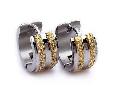 316L Stainless Steel Two Tone Gold and Silver Frosted Hoop Earrings 6mm - E85