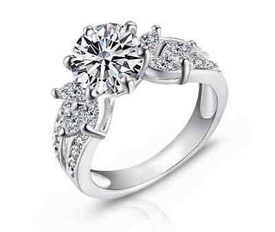 Royal 18K White Gold GP Simulated Diamond 3.15ct Size 8 Engagement Ring S79