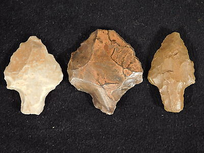 THREE! Authentic 55,000 to 12,000 Year Old Aterian Lithic Artifacts Algeria 28.4