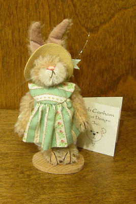 "DEB CANHAM Artist Designs FLO, Bunny Coll., mohair 3.75"" rabbit From Retail Shop"