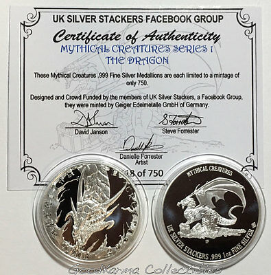 2016 UK Silver Stackers 1oz Custom Silver Round Mythical Creatures #1 The Dragon