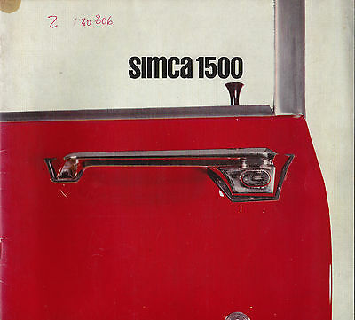 SIMCA 1500 SALOON SALES BROCHURE 14 PAGES 1960's