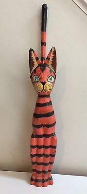 Orange Striped 2 FT Tall Skinny Hand Carved Wooden Cat Figure