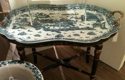 New Blue & White Porcelain Blue Willow Tray Table On Blk Gld Wood Stand