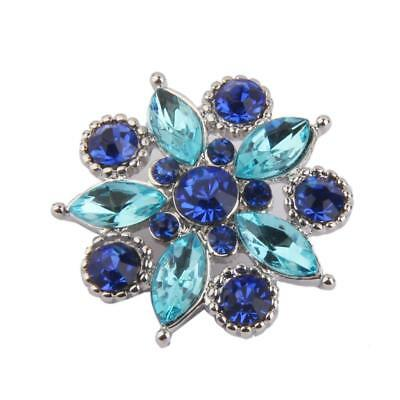 3D Crystal Drill Charms Snap Button Flower Pendant For DIY Noosa Jewelry 26mm