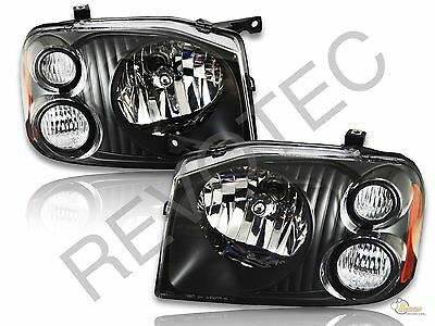 Black Headlights Headlamps Pair Set LH & RH For 2001-2004 Nissan Frontier Pickup