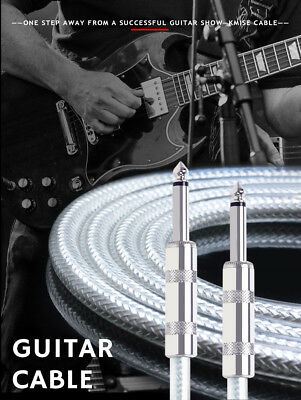 """Kmise Guitar Patch Cable Cord Right Angle 6"""" Genuine OFC Braided for Guitar"""