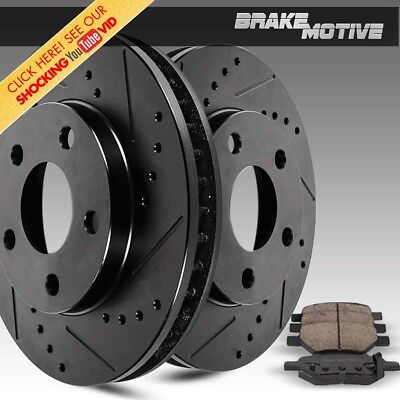 Front Black Drill Slot Brake Rotors And Pads For Silverado Tahoe Sierra Yukon